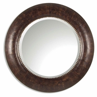 Uttermost 07515-B Leonzio 42 Inch Diameter Circular Brown Leather Frame Mirror