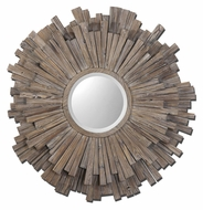 Uttermost 7634 Vermundo 43 Inch Tall Wooden Starburst Walnut Stained Circle Mirror