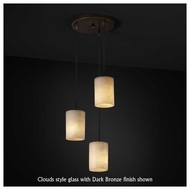 Justice Design 881810 3-Light Mini Pendant with Flat Rim Cylinder Glass
