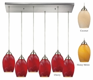 ELK 10222/6rc Favela Rectangle Canopy 6 Lamp Multi Pendant With Glass Options