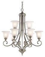 Kichler 43159NI Monroe Large Traditional 2 Tier 9 Light Chandelier - Brushed Nickel