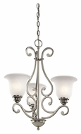 Kichler 43223NI Camerena Traditional 3 Lamp Brushed Nickel Mini Chandelier Lighting