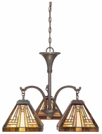 Quoizel TFST5103VB Stephen Bronze Tiffany Art Glass 19 Inch Diameter Dinette Chandelier