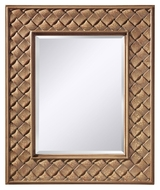 Feiss MR1169BCC Crisfield 36 Inch Tall Buttercream Crackle Weave Pattern Frame Wall Mirror