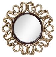 Feiss MR1132MHG/ASL Courtney Mahogany And Antique Silver Framed Vintage 48 Inch Diameter Circle Mirror