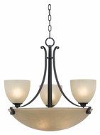 Kenroy Home 91914FGRPH Willoughby 6 Lamp Forged Graphite 23 Inch Diameter Bowl Chandelier Light