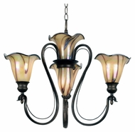 Kenroy Home 90895TS Inverness Small Art Glass 26 Inch Diameter 5 Light Tuscan Silver Chandelier