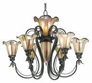 Kenroy Home 90896TS Inverness Medium 31 Inch Diameter Tuscan Silver Art Glass Chandelier Lighting