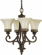 Feiss F2221-4WAL Drawing Room 4 Light Amber and Walnut Duo Mount Chandelier or Semi-flush Mount Ceiling Light