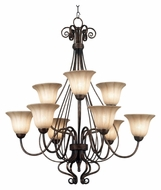 Kenroy Home 10549BB Wallis Burnished Bronze 37 Inches Tall Traditional 9 Light Chandelier
