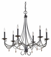 Feiss F2746/6RI Aliya Rustic Iron 6 Candle 27 Inch Diameter Hanging Chandelier - Small