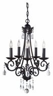 Feiss F2758/5BK Nadia 5 Candle Black Finish 18 Inch Diameter Mini Chandelier Light Fixture