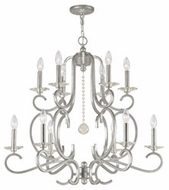 Crystorama 9349-OS Orleans Large 32 Inch Diameter 12 Candle Olde Silver Chandelier Light Fixture