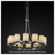 Justice Design 8763-10 Dakota 12-Light Tall Ring Chandelier with Flat Rim Glass