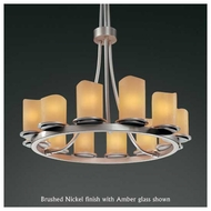 Justice Design 8763-14 Dakota 12-Light Tall Ring Chandelier with Melted Rim Glass
