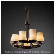Justice Design 8766-10 Dakota 9-Light Ring Chandelier with Flat Rim Glass