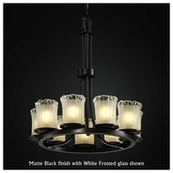 Justice Design GLA-8766-16 Dakota 9-Light Ring Chandelier with Cylinder Rippled Rim Glass