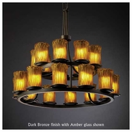 Justice Design GLA-8767-16 Dakota 21-Light 2-Tier Ring Chandelier with Cylinder Rippled Rim Glass