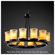 Justice Design GLA-8768-16 Dakota 12-Light Short Ring Chandelier with Cylinder Rippled Rim Glass