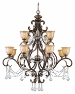 Crystorama 7512-BU-CL-MWP Norwalk Bronze Umber Finish 48 Inch Diameter 12 Lamp Hanging Chandelier - Clear Crystal