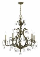 Crystorama 5565-AB-CL-MWP Dawson 5 Candle Antique Brass Finish Clear Crystal Chandelier