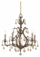 Crystorama 5565-AB-GT-MWP Dawson 26 Inch Diameter Golden Teak Crystal Antique Brass Candle Chandelier