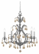 Crystorama 5565-PW-GT-MWP Dawson 5 Candle Pewter Finish Golden Teak Crystal Chandelier