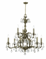 Crystorama 5569-AB-CL-MWP Dawson Antique Brass Candle 29 Inch Diameter Clear Crystal 9 Light Chandelier