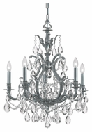 Crystorama 5575-PW-CL-MWP Dawson 5 Candle Pewter Finish Clear Crystal Dining Chandelier - 26 Inch Diameter