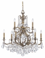 Crystorama 5579-AB-CL-MWP Dawson 9 Candle Antique Brass Clear Crystal Dining Chandelier