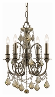 Crystorama 5114-EB-GT-MWP Regis Small 4 Candle Golden Teak Crystal Ceiling Chandelier - Venetian Bronze