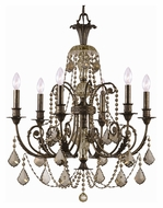 Crystorama 5116-EB-GT-MWP Regis Medium 26 Inch Diameter 6 Candle Golden Teak Crystal Dining Chandelier