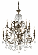 Crystorama 5119-EB-CL-MWP Regis English Bronze Finish 32 Inch Diameter 6 Candle Dining Room Chandelier