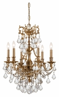 Crystorama 5146-AG-CL-MWP Yorkshire Aged Brass Clear Crystal 21 Inch Diameter 6 Candle Chandelier