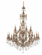 Crystorama 5147-AG-CL-MWP Yorkshire 24 Candle Aged Brass Large 44 Inch Diameter Dining Room Chandelier