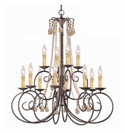 Crystorama 5212-DR-GT-MWP SOHO Medium 32 Inch Diameter Golden Teak Crystal Candle Chandelier