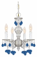 Crystorama 5224-AW-BLUE Sutton 4 Candle Antique White Mini Chandelier - Blue Crystal