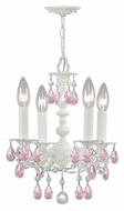 Crystorama 5514-WW-RO-MWP Paris Flea Market 13 Inch Tall Wet White Rose Crystal Mini Chandelier Lighting Fixture