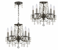 Crystorama 5545-PW-CL-MWP Mirabella Convertible 15 Inch Diameter Pewter Pendant Lamp & Ceiling Light
