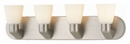 Lite Source LS16834SS/FRO Taza Transitional 4 Lamp 24 Inch Wide Satin Steel Vanity Lighting