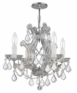 Crystorama 4474-CH-CL-MWP Maria Theresa Mini 4 Candle Chrome Chandelier Lighting - Clear Crystal