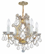 Crystorama 4474-GD-CL-MWP Maria Theresa Clear Crystal Gold Finish Mini Chandelier Lamp - 15 Inches Tall