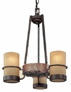 Troy F1845BB Bamboo 3 Light Wrought Iron Mini Chandelier