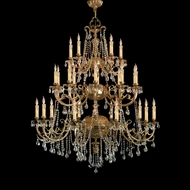 Crystorama 498-OB-CL-MWP Cortland 56 Inch Tall Olde Brass 25 Light Traditional Candelabra Chandelier