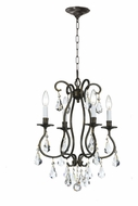 Crystorama 5014-EB-CL-MWP Ashton English Bronze 16 Inch Diameter Traditional Mini Chandelier - 4 Candles