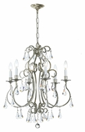 Crystorama 5016-OS-CL-MWP Ashton Old Silver Traditional 21 Inch Diameter 6 Candle Small Chandelier
