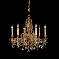 Crystorama 2806-OB-GT-MWP Novella Golden Teak Crystal 25 Inch Diameter Small Olde Brass Chandelier