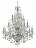 Crystorama 3229-CH-CL-MWP Imperial 24 Candle Large Polished Chrome Chandelier Light Fixture - 36 Inch Diameter