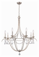 Crystorama 428-SA Metro II 31 Inch Diameter Large Antique Silver Finish 8 Candelabra Chandelier