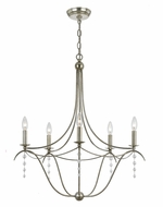 Crystorama 435-SA Metro Traditional Antique Silver Finish 5 Candelabra Chandelier Lamp